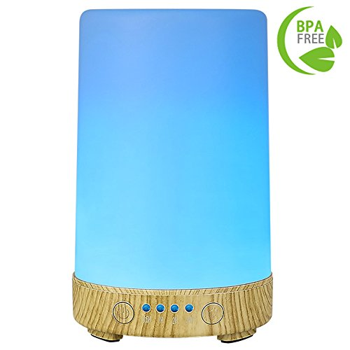 COOSA 100ML Solid Color Aromatherapy Essential Oil Diffuser with 7 Color Changing LED Lights Aroma Diffuser Waterless Auto Shut-off Cool Mist Humidifier for Home Office Baby Living Room Yoga Spa (Diffuser Scent Room)