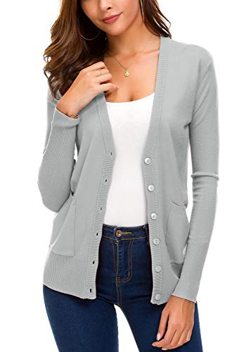 Women's Front Cardigan Button Down Knitted Sweater Coat with Pockets (M, Light Grey)