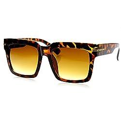 zeroUV - Womens Oversize Bold Square Frame Fashion Sunglasses (Brown-Tortoise)