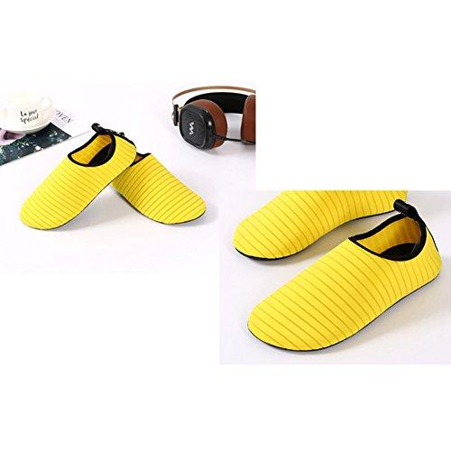 YiWa suave buceo agua zapatos comodidad Unisex antideslizante Fitness calcetines zapatos descalzo nadar agua para playa piscina Surf Buceo Yoga amarillo