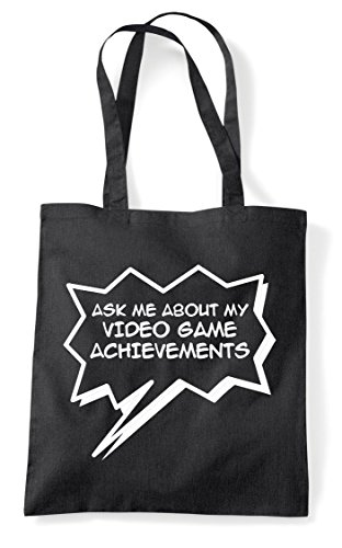 Game Bag Achievements Me Black Statement Shopper Tote Video About Gaming My Ask Bqfpa