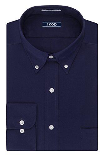 IZOD Men's Regular Fit Stretch Solid Buttondown Collar Dress Shirt, Sailor Navy, 14''-14.5'' Neck 32''-33'' Sleeve by IZOD
