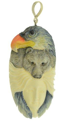 (Spirit Totem Goddess Eagle Bear Pendant 925 Carved Bovine Bone)