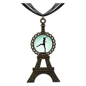 Chicforest Bronze Retro Style Olympics female gymnast performing Eiffel Pendant