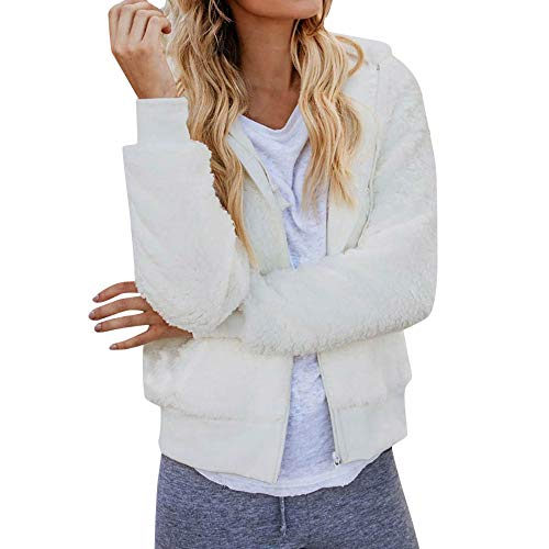 Sunhusing Women's Long Sleeve Thick Hooded Cozy Plush Jacket Cardigan Open Stitch Knitwear Short Coat -