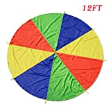 Oun Nana Play Parachute for Kids 12 Foot with 8 Reinforced Handles & Storage Bag Fun Team Games and Group Toy