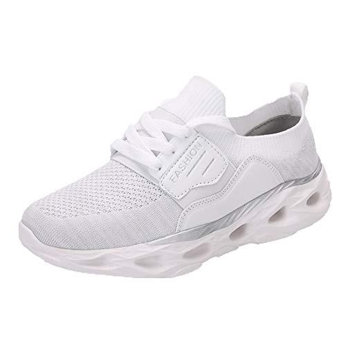 Blanco Cordones Zapatillas Cómodo Sólido Para Malla Suelas Sylar Correr De Deporte Mujer Transpirable Blandas Color Simple ZRq1Aw