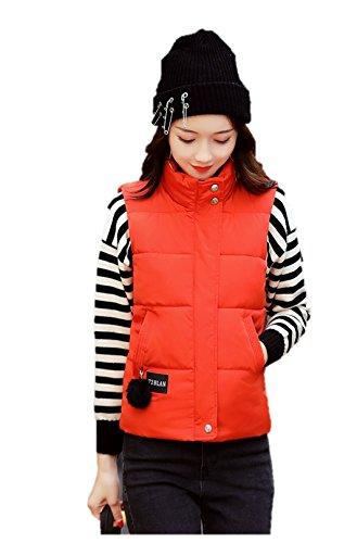 ペルソナシットコム固執レディース ダウン ベスト フード 付き 中綿 可愛い 防寒 防風 袖なし アウター あったか K12681 (M, オレンジ)