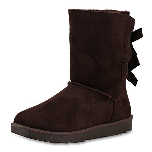napoli-fashion Bequeme Warm Gefütterte Damen Schuhe Stiefel Schlupfstiefel Jennika Dunkelbraun Schleife