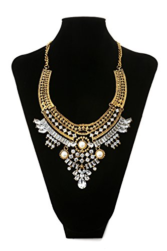 Lianjie Women Alloy Antique Silver/Gold Bohemia Necklaces Boho Vintage Necklace Crystal Beads Statement Necklaces (#1)