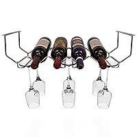 Estante para vinos Sorbus y cristalería debajo del gabinete - Tiene capacidad para 6 botellas de vino y 6 copas de vino.