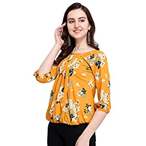 J B Women Solid Top with 3/4 Sleeves for Office Wear, Casual Wear, Under 399 Top for Women/Girls Top