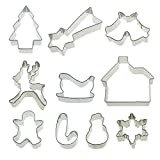 ECO-FRIENDLY MATERIALS: Cookie Cutter mark is made with stainless steel.  NOTICE:  Please double check the sizes before purchasing. candy molds size: snowflake: 2.4 * 2.4 inches, Christmas tree: 2.5 * 2.3 inches, gingerbread man: 2.4 * 2.3 i...