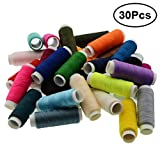 Polyester Sewing Thread Assortment 250 Yard Quilting Connecting Overlock Yarn Thread Coil Spool for Serger Quilting Upholstery Beading Drapery (30 Random Colors)