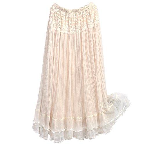 DEHANG Womens Boho Lace Double Layer Elastic Waist Long Maxi Skirt (Ship US)