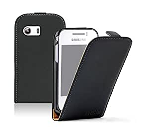 BLACK PU LEATHER VERTICAL CASE FOR SAMSUNG GT-S5360 GALAXY Y - HIGH QUALITY FLIP PHONE COVER + 2 SCREEN PROTECTORS