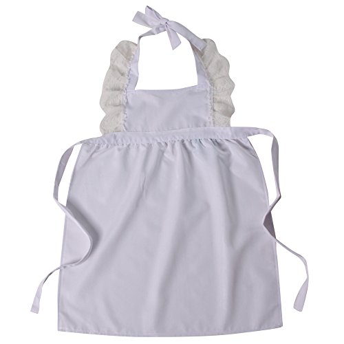 Pinafore Girls - Making Believe Girls Simple Peasant Tie-On Pinafore Apron, White