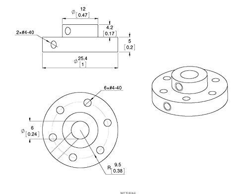 Pololu 1083 Universal Aluminum MOUNTING HUB for 6mm Shaft Pair, 4-40 Holes