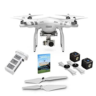 DJI Phantom 3 Advanced Quadcopter Aircraft - Bundle with Lume Cube Drone Lighting Kit, Additionel Battary, Spare Propeller Set, Step-By Step Training DVD