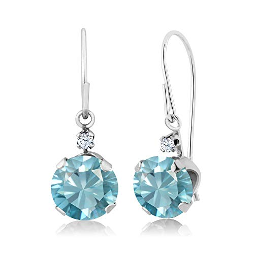 Gem Stone King 2.43 Ct Round Blue Zircon 14K White Gold Earrings ()