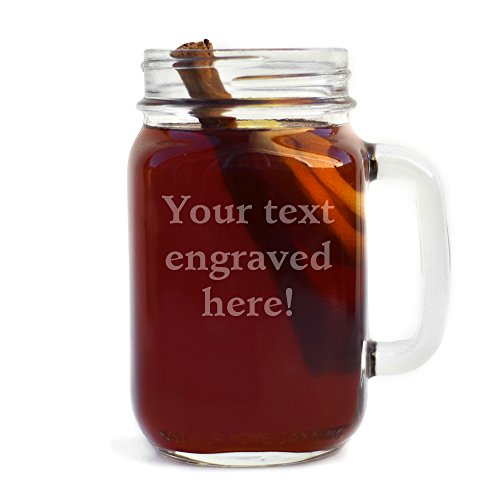 Personalized Handled Mason Jar Engraved with Your Custom Text (Custom Glassware Printed)