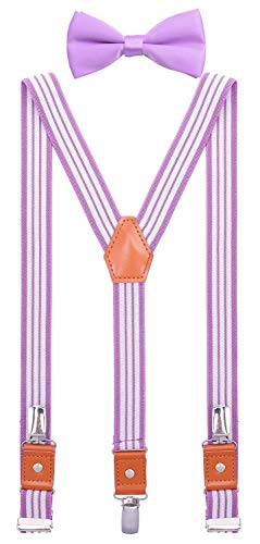 SUNNYTREE Kids Suspenders Bow Tie Set Adjustable Y Back Elastic 30 inches Purple ()