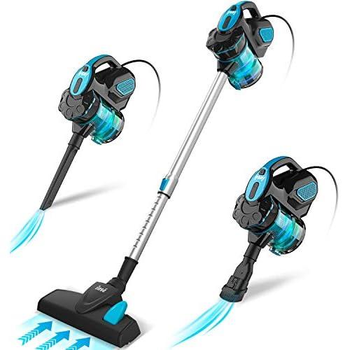 chollos oferta descuentos barato INSE Aspirador con Cable 3 En 1 Vertical y de Mano Hogar Escopa Aspiradora Poderosa Succión 18Kpa 600W 1L Hepa Filtro Lavable 3 Cepillos Ajustable Clase de Eficiencia Energética A Azul
