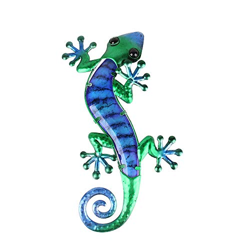 Liffy Metal Gecko Wall Art Lizard Outdoor Decor Glass Garden Decorations Blue, 14.8 Inches Long