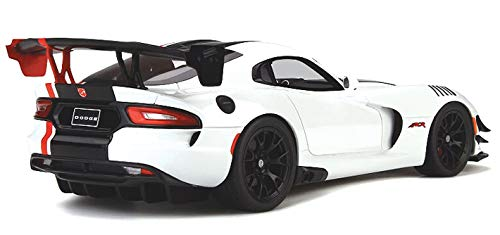 2016 Dodge Viper ACR Viper White with Black and Red Stripes Limited Edition to 999 Pieces Worldwide 1/18 Model Car by GT Spirit GT181 by GT Spirit (Image #3)