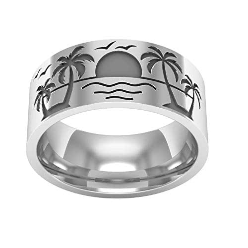 Palm tree trunk silver ring Horizontal stripes texture silver ring Organic ring Ring unisex old silver Comfortable silver wedding ring