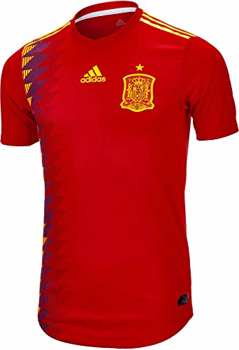Home Adidas Authentic Mens Jersey - Adidas Men's Spain Authentic Home Jersey 2018 (Red/BoGold) (M)