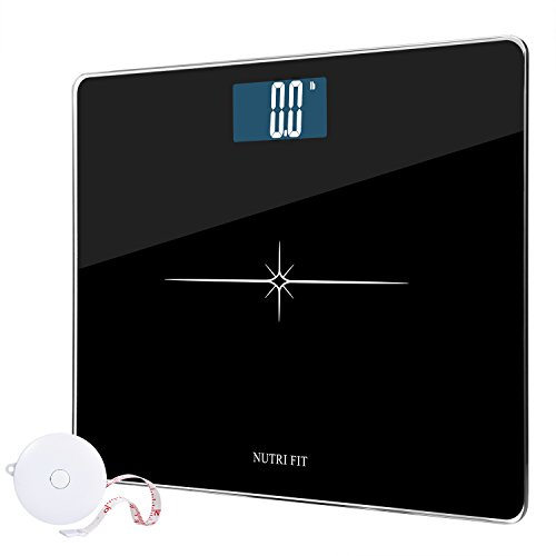Digital Body Weight Bathroom Scale with Body Tape Measure from NUTRI FIT,Step-on Technology,Tempered Glass and Large Easy Read Backlit LCD Display 400 Pounds Black by NUTRI FIT