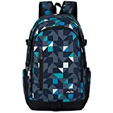 School Backpack, Ricky-H Lifestyle Travel Bag for Men & Women, Lightweight College Back Pack with Laptop Compartment-Geometry Grey/Blue (Style 2)