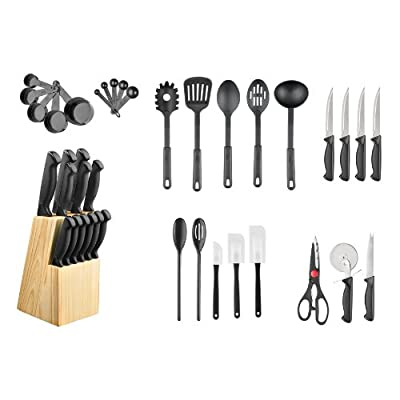Hampton Forge 40-Piece Cutlery Knife Block Set, HMC01B175L