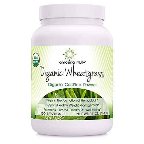 Amazing India USDA Certified Organic Wheatgrass Power (Non-GMO) 482 gm (16 oz ) *Helps in the Formulation of Hemoglobin , Supports Healthy Weight Management,Promotes Overall Health & Well-being * (Best Wheatgrass Powder Brands In India)