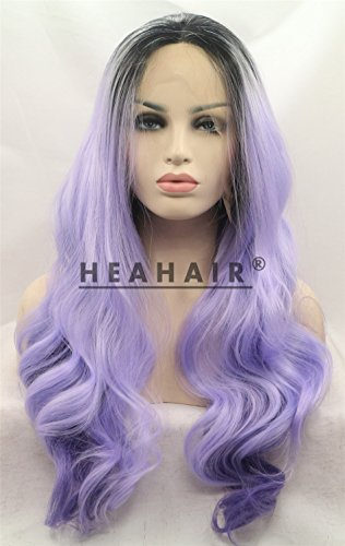 Heahair New Ombre Purple Wave Synthetic Lace Front Wig for Cosplay (Purple 3) (Edward Cullen Costumes)