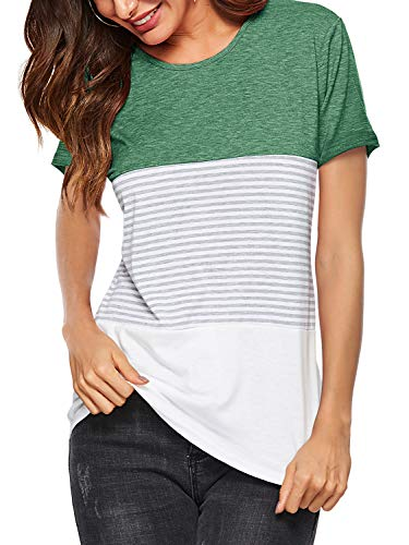 Amoretu Women's Short Sleeve Summer T Shirts Casual Striped Blouses Tops Green XXL