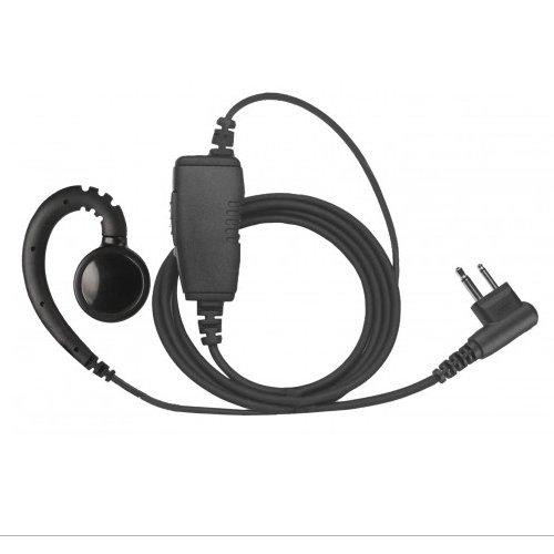 (1-Wire Swivel Earpiece Mic Large Speaker + Inline PTT for Motorola 2-Pin Radios)
