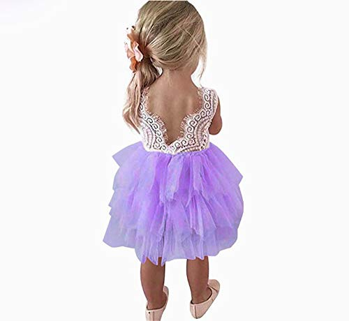 (Toddler Baby Flower Girls Princess Tulle Dress Lace Backless Tutu A-line Beaded Party Dresses Purple)