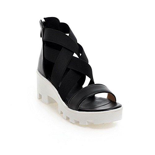 Soft Classic Ladies Sandals Heels Black Material Empty BalaMasa Kitten vHwqwC