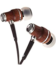 Symphonized NRG X Bubinga Wood Earbuds, Ergonomic Design in-Ear Noise-Isolating Headphones, Earphones with Angle-Fit Ear Tips, in-line Microphone and Volume Control, Stereo Earphones