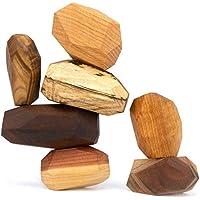 7 Piece Tumi Ishi Balancing Block Set - The ORIGINAL Wood Rocks - Mixed Wood Species - Natural Wood Toy - Organic Jojoba Oil and Beeswax Finish - Handmade Wooden Toy - Educational Toy - USA Made