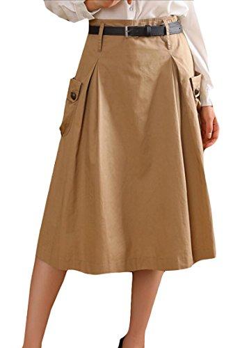 Khaki Cotton Mini Skirt - 5