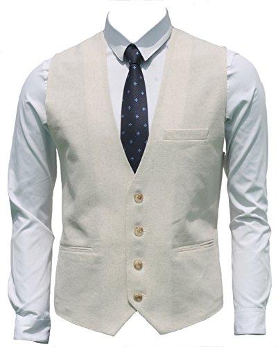 Ruth&Boaz Men's Linen Blend 3Pockets 4Buttons Summer Vest (XXXXL, Natural Linen) ()