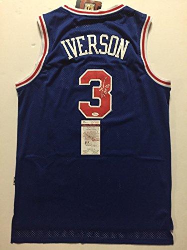 "b3644b3ea62 Autographed Signed Allen Iverson ""HOF 16"" Philadelphia 76ers Sixers Blue Retro  Basketball ..."