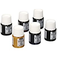 Pebeo Vitrail, Discovery Set of 6 Assorted Stained Glass Effect Paints, 20 ml Bottles