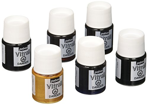 (Pebeo Vitrail, Discovery Set of 6 Assorted Stained Glass Effect Paints, 20 ml Bottles)