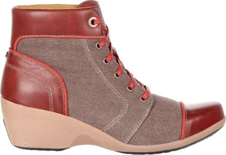 4eursole Casual Laarzen Womens Forte High Wedge Lace Brown Rkh121 Bruin / Cinnaber Canvas / Leer