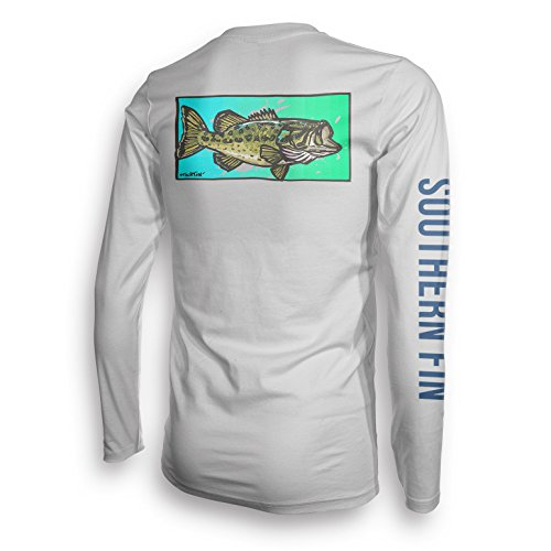 Long Sleeve Fishing T-Shirt for Men and Women, UPF 50 Dri-Fit Performance Clothing - Southern Fin Apparel (Largemouth Bass, Large)