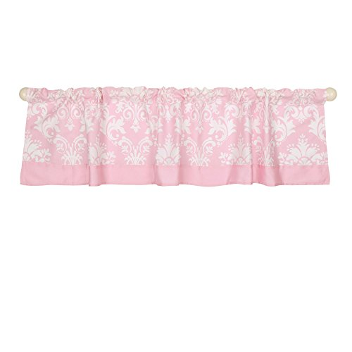 Pink Damask Print Window Valance by The Peanut Shell - 100% Cotton - Tailored Valance Garden
